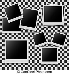 Abstract photo frames set on checkered background Vector...