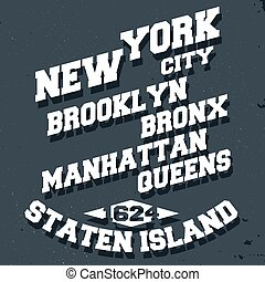 New York City - T-shirt print design. New York City vintage...