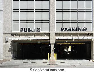Public parking garage - Entrance to a Public Parking deck in...