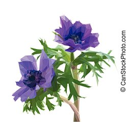 anemone blue flowers - Low poly illustration of blue anemone...