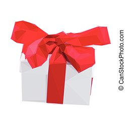 white gift boxe with red bow - Low poly illustration white...