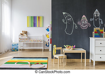Empire of kid's play - Spacious baby room with furnitures,...