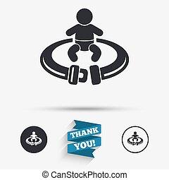 Fasten seat belt sign icon Safety accident - Fasten seat...