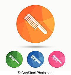 Comb hair sign icon Barber symbol Triangular low poly button...
