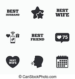 Best wife, husband and friend icons Heart love signs Award...