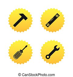 Screwdriver and bubble level, hammer. - Screwdriver and...