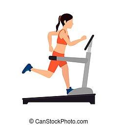 girl trainning band gym - girl running band machine...