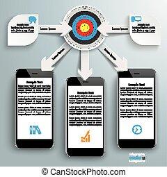 Paper Arrows Big Flowchart Infographic Target 3 Smartphones...