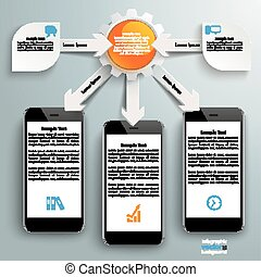 Paper Arrows Big Flowchart Infographic 3 Smartphones