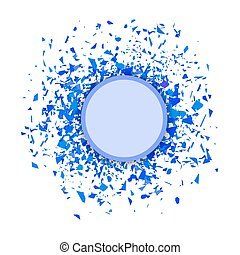 Blue Confetti Round Banner. Set of Particles. - Blue...