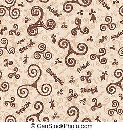 Craft paper colors hand drawn triskels vector seamless...