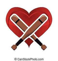 bat heart baseball sport design