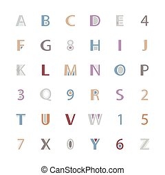 geometric style alphabet letters and numbers vector font...