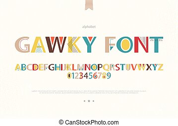 gawky font - geometric style alphabet letters and numbers...