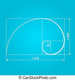 Golden section figure, 2d illustration of ideal proportion,...
