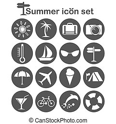 Summer icons set, 16 travel signs, 2d illustration, vector,...