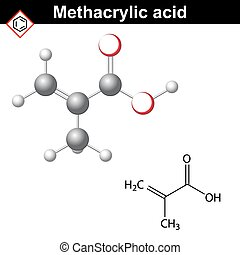 Methacrylic acid molecule, 2d and 3d illustration of...