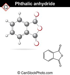 Phthalic anhydride molecule, 2d and 3d illustration isolated...
