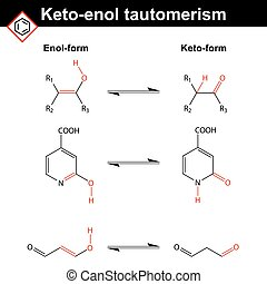 Keto-enol tautomerism reaction examples with marked variable...