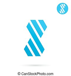 Striped s letter sign, 2d logo template, infinity vector...