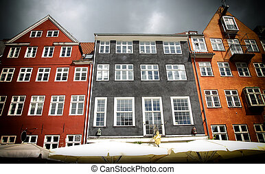 Nyhavn street in Copenhagen, Denmark - Old classic colorful...