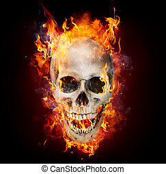 Satanic Skull In Flames In The Dark