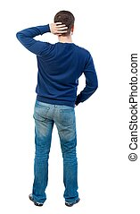 back view of standing business man bearded man in blue...
