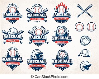White, red and blue Vector Baseball logos - Collection of...