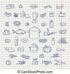Hand drawn fruits berries and vegetables