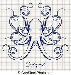 Hand drawn pen sketch octopus - Hand drawn octopus vector....