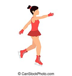 ice skate girl cartoon dancing pose sport vector...