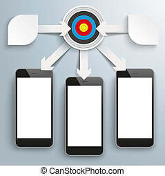 Paper Arrows Big Flowchart Infographic Target 3 Smartphones