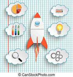 Bulb Startup Clouds With Icons Checked Paper - Bulb with...