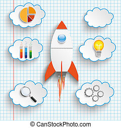 Rocket Startup Clouds With Icons Checked Paper - Bulb with...