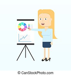 Happy businesswoman character smiling isolated in flat style.