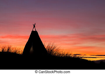 Tepee Dawn Sky - Tepee on a hill with a wonderful dawn sky...
