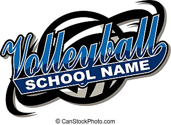 volleyball team design in script with tail for school,...