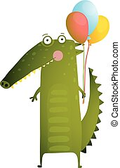 Kids Watercolor Style Crocodile with Balloons Colorful...