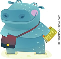 Hippopotamus Kid Student with Book and Bag Going to School -...