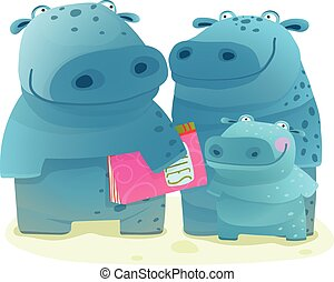 Hippo Family Mother Father and Kid with Book
