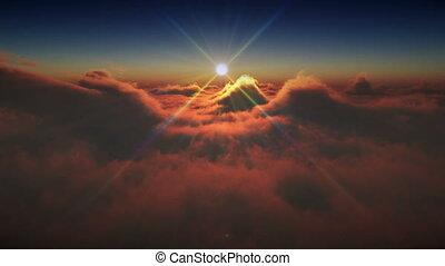 sunset ray high clouds 4k