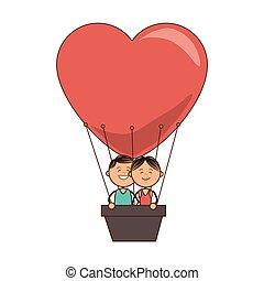 hot air balloon love couple