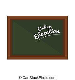 chalkboard with online education tittle - green school...