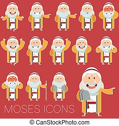 Set of Moses icons2 - Vector image of the set of Moses icons
