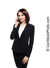 businesswoman talking on the mobile cell phone - happy...