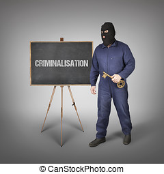 Criminalisation text on blackboard with thief and key