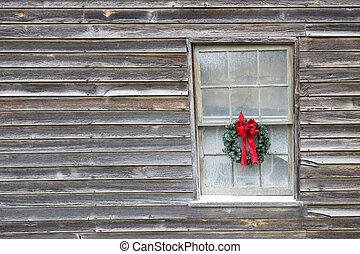 Christmas Wreath on Old Farmhouse