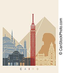 Cairo skyline poster in editable vector file