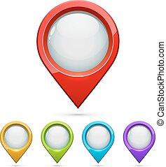 地図, セット, 色, 隔離された, 背景, ベクトル, 白, ポインター