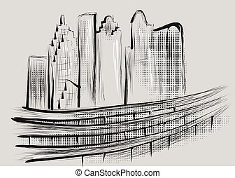 houston. abstract illustration of city on gray background